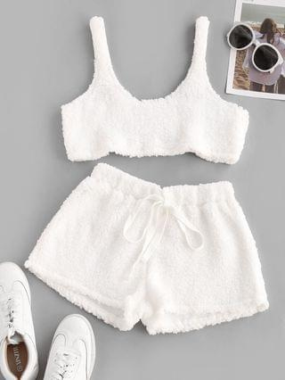 WOMEN Cropped Fluffy Faux Shearling Pajama Set - White L