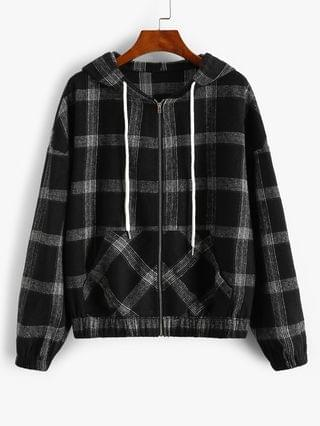WOMEN Hooded Plaid Zip Up Wool Blend Jacket - Black M