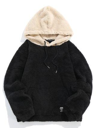 WOMEN Kangaroo Pocket Fluffy Faux Fur Hoodie - Black L