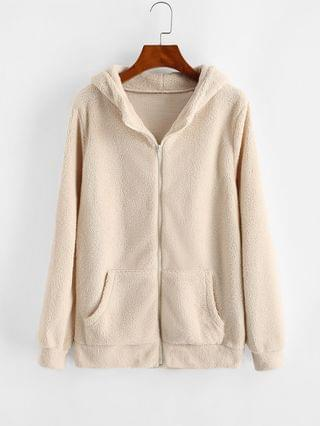 WOMEN Hooded Zip Up Faux Shearling Pockets Coat - Light Khaki Xl