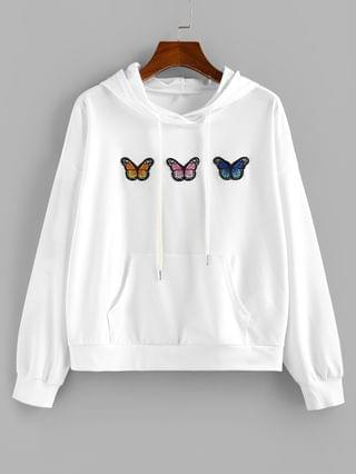 WOMEN Butterfly Applique Drop Shoulder Kangaroo Pocket Hoodie - White M