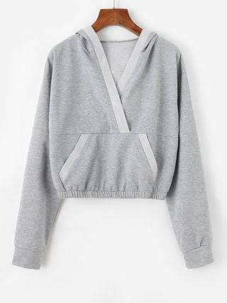 WOMEN V Notch Kangaroo Pocket Crop Hoodie - Light Gray Xl