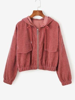 WOMEN Corduroy Drop Shoulder Hooded Jacket - Red S