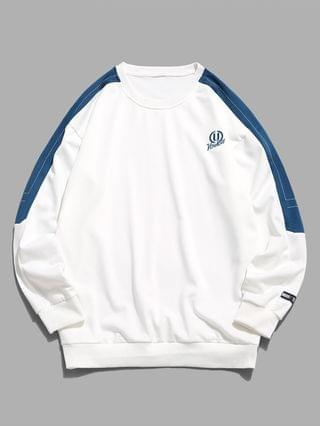 MEN Embroidery Letter Colorblock Stitching Sweatshirt - White Xl