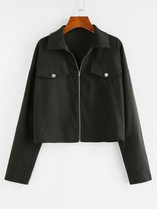 WOMEN Drop Shoulder Flap Detail Zip Up Jacket - Black M