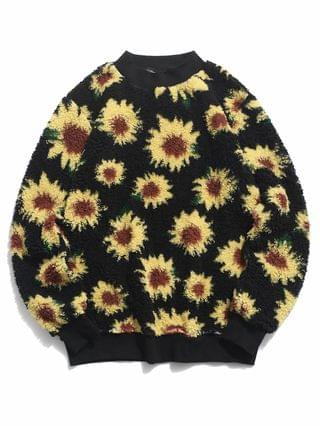 MEN Sunflower Pattern Fluffy Pullover Sweatshirt - Black 2xl