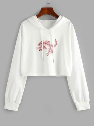 WOMEN Chinoiserie Phoenix Print Cropped Hoodie - White Xl