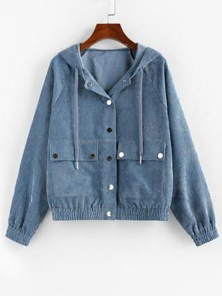 WOMEN Corduroy Hooded Pocket Raglan Sleeve Jacket - Blue Gray S