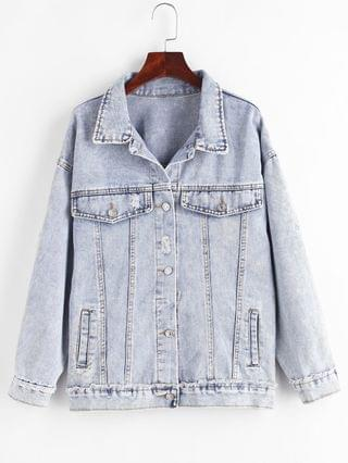 WOMEN Distressed Frayed Button Up Denim Jacket - Blue M