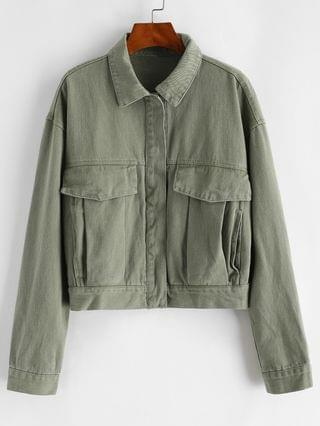 WOMEN Button Up Flap Detail Denim Jacket - Deep Green S