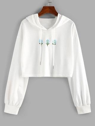 WOMEN Floral Embroidered Crop Hoodie - White M
