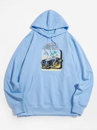 MEN Car Graphic Front Pocket Casual Hoodie - Light Blue Xs