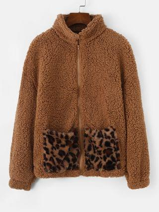 WOMEN Pockets Leopard Faux Fur Zip Up Teddy Coat - Brown Bear Xl
