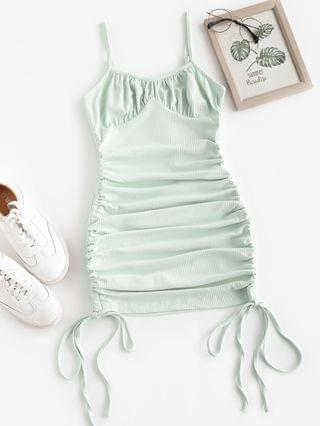 WOMEN Rib-knit Side Cinched Ruched Bodycon Bustier Dress - Green L