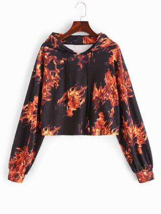 WOMEN Drop Shoulder Flame Print Crop Hoodie - Black S