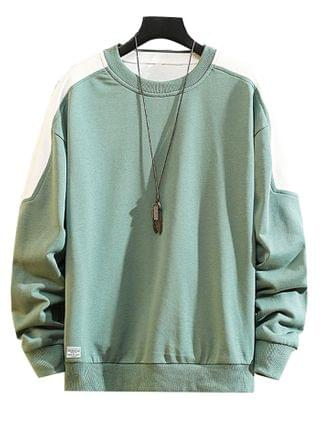 MEN Color Blocking Panel Crew Neck Pullover Sweatshirt - Medium Turquoise M