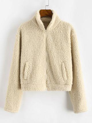 WOMEN Full Zip Faux Pocket Faux Shearling Coat - Apricot M