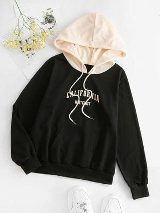 WOMEN Letter Colorblock Kangaroo Pocket Hoodie - Black M