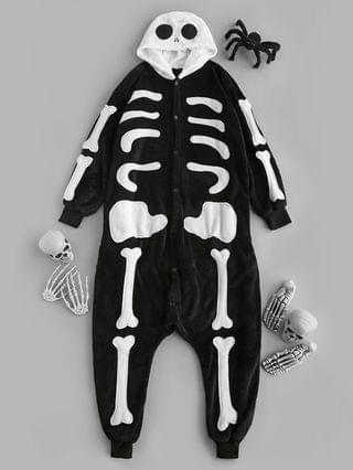 WOMEN Halloween Hooded Plush Skeleton Pajama Onesie - Black S
