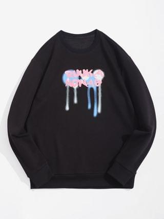 MEN Letter Drip Paint Print Pullover Sweatshirt - Black L