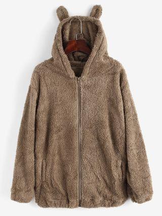 WOMEN Zip Up Hooded Pockets Fluffy Teddy Coat - Brown