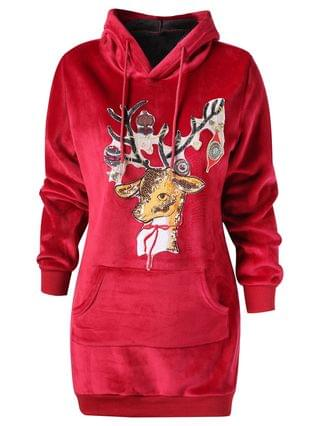 WOMEN Christmas Elk Applique Kangaroo Pocket Velvet Hoodie - Red Wine 2xl