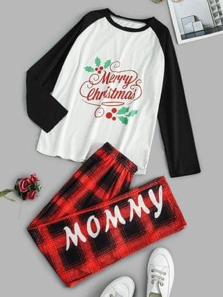 WOMEN Graphic Plaid Raglan Merry Christmas Pajama Set - White S