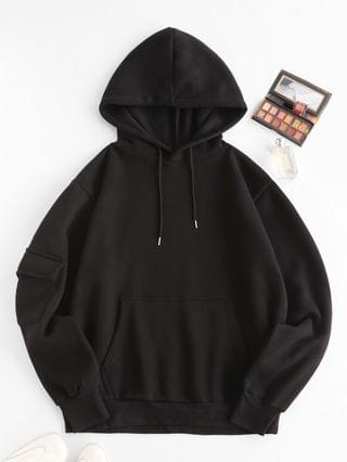 WOMEN Fleece Lined Pocket Detail Oversized Hoodie - Black S