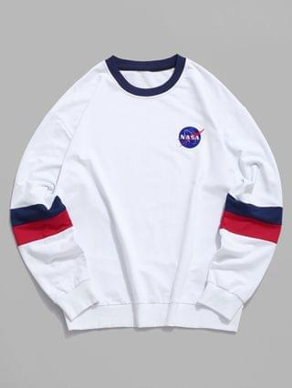 MEN Colorblock Letter Graphic Casual Drop Shoulder Sweatshirt - White S