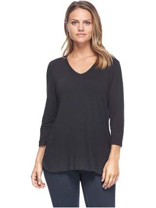 WOMEN FDJ French Dressing Jeans - Baby French Terry V-Neck 3/4 Sleeve Top