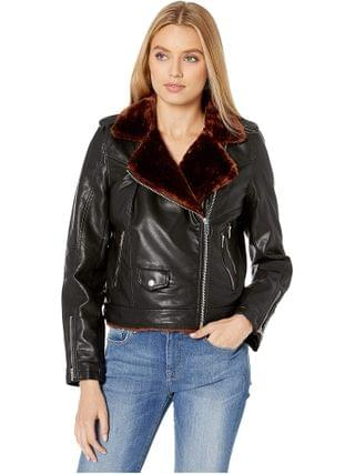 WOMEN Blank NYC - Vegan Leather Moto Jacket with Faux Fur Lining