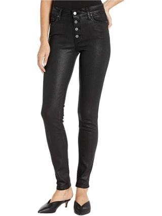 WOMEN Paige - Hoxton Ultra Skinny w/ Exposed Button Fly in Black Fog Luxe Coating