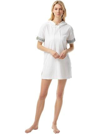WOMEN MICHAEL Michael Kors - Solid Terry Cover-Up Hoodie Dress