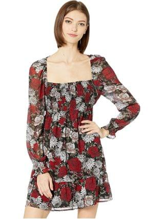 WOMEN BB Dakota - I Touch Roses Winter Printed Crinkle Chiffon Square Neck Dress with Smocking