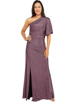 WOMEN Adrianna Papell - Plus Size One Shoulder Metallic Knit Side Draped Mermaid Gown