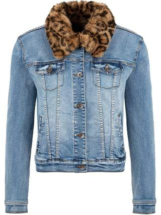 WOMEN Tribal - Jean Jacket with Removable Faux Fur Collar