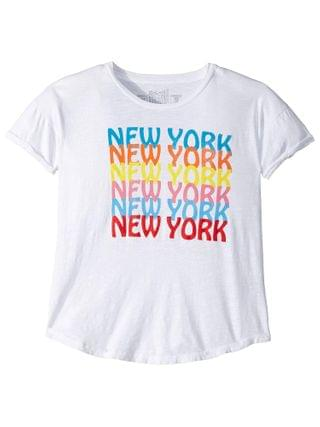 KIDS The Original Retro Brand Kids - Rolled Short Sleeve Slub New York Tee (Big Kids)