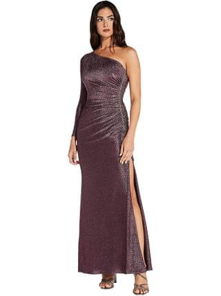 WOMEN Adrianna Papell - One Shoulder Metallic Knit Side Draped Mermaid Gown
