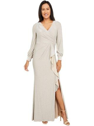 WOMEN Adrianna Papell - Long Sleeve Metallic Knit Wrap Front Mermaid Gown