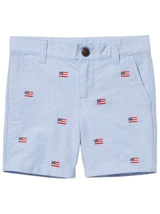 KIDS Janie and Jack - Embroidered Flat Front Shorts (Toddler/Little Kids/Big Kids)