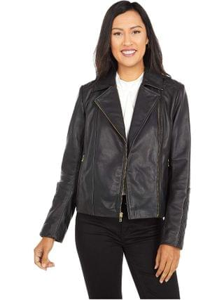 WOMEN Cole Haan - Lamb Leather Zip Front Jacket with Quilted Sleeve Detail