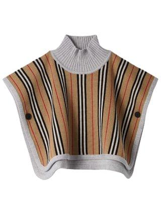 KIDS Burberry Kids - Reversible Icon Stripe Merino Wool Jacquard Poncho (Big Kids)