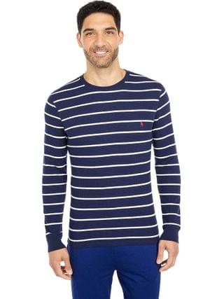 MEN Polo Ralph Lauren - Midweight Waffle Thin Stripe Long Sleeve Crew