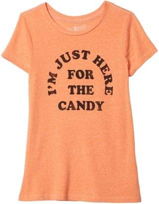 KIDS The Original Retro Brand Kids - Just Here For The Candy Vintage Tri-Blend Short Sleeve Tee (Big Kids)