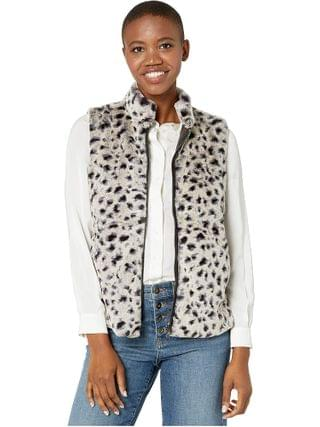 WOMEN Dylan by True Grit - Leopard Faux Fur Mock Zip Vest