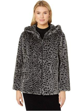 WOMEN Vince Camuto - Hooded Zip Front Faux Fur Jacket V29753
