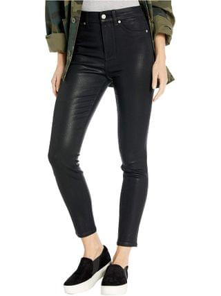 WOMEN 7 For All Mankind - High-Waist Ankle Skinny Faux Pocket in Black Coated