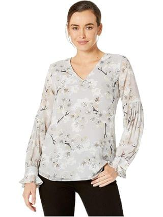 WOMEN Calvin Klein - Printed Top with Pleated Sleeve