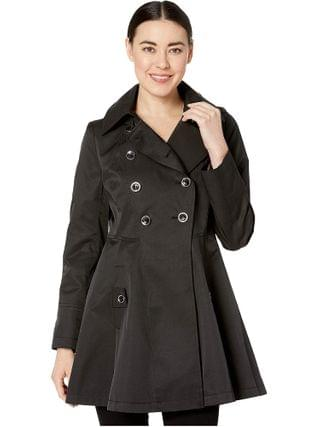 WOMEN Via Spiga - Petite Double Breasted Fit and Flare w/ Detachable Hood