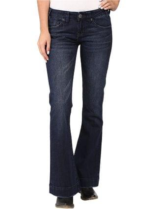 WOMEN Rock and Roll Cowgirl - Trousers Low Rise in Dark Wash W8-8486